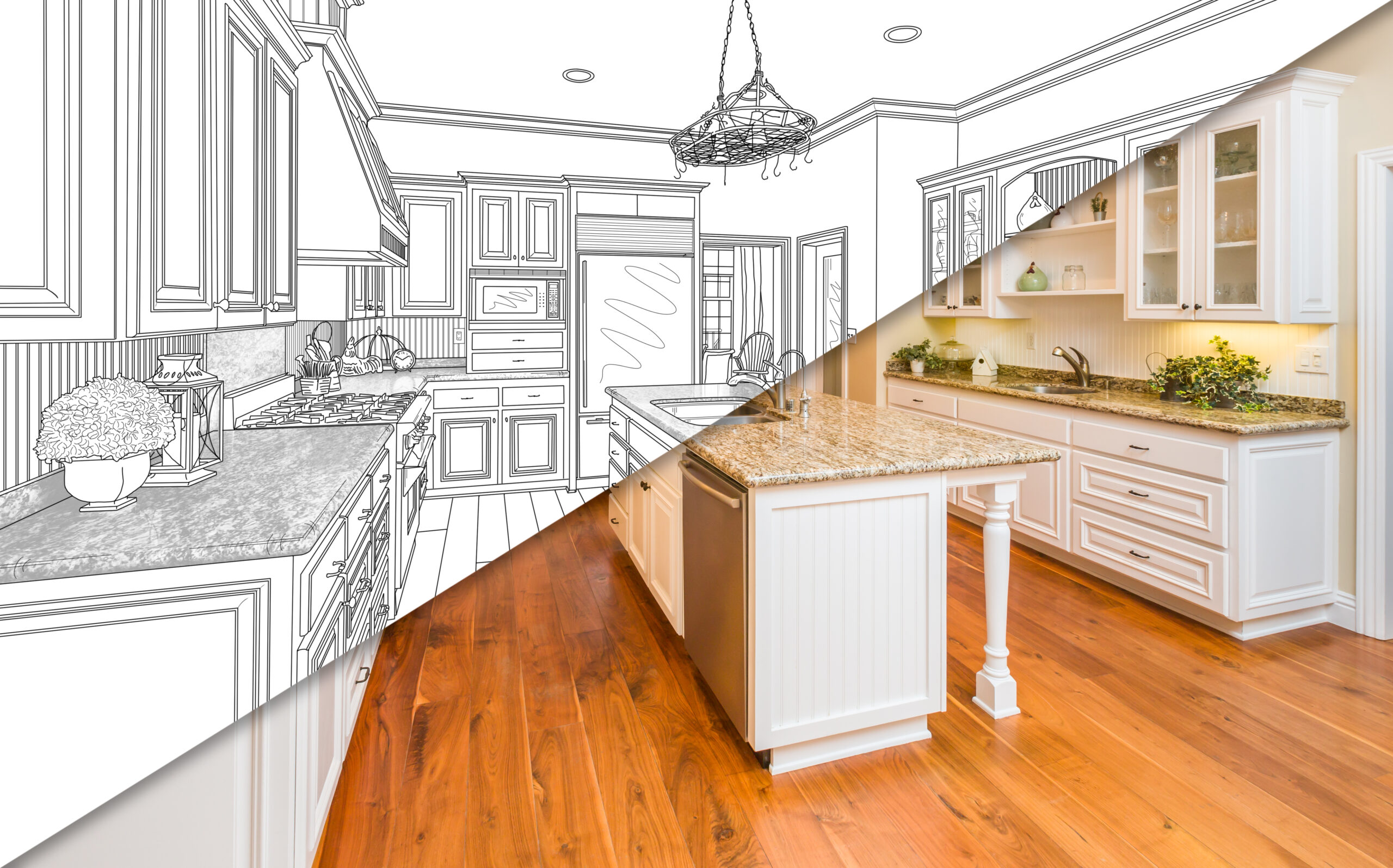 Diagonal Split Screen Of Drawing and Photo of Beautiful New Kitchen